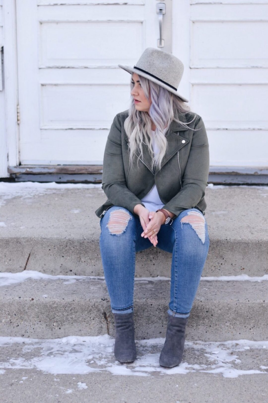 Old navy suede moto jacket ootd