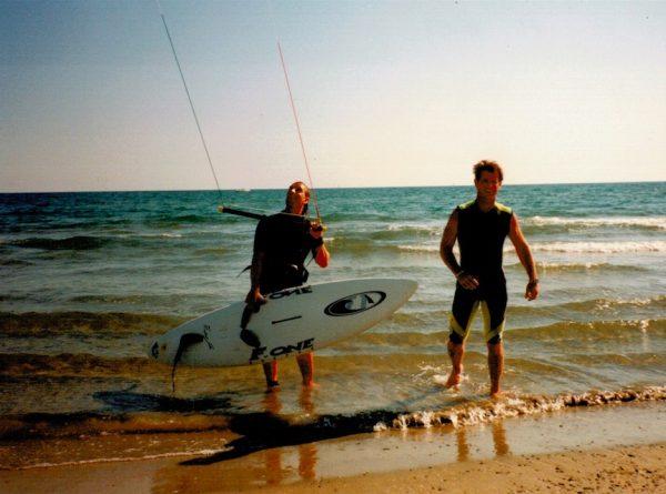 premiers élèves de l'école de kitesurf Axel'Air en 1997