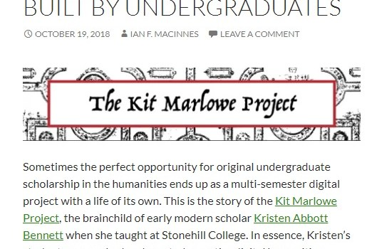Kit Marlowe Project built by undergraduates screenshot