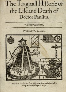 """An image of the title page of Christopher Marlowe's """"The Tragicall Historie of the Life and Death of Doctor Faustus""""."""
