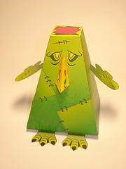 A Frankenstein's Twitter bird made from paper.