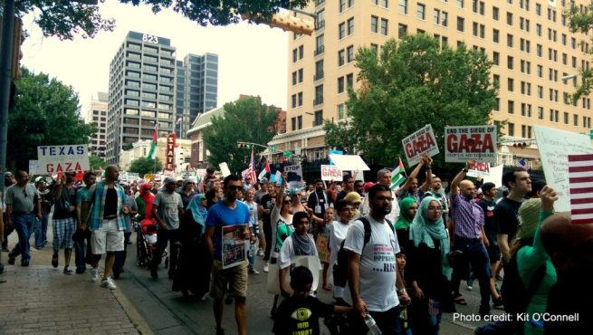 On August 4, 2014, thousands marched down Congress Avenue in downtown Austin, Texas to demand an end to Israel's brutal assault on Gaza. (Kit O'Connell)