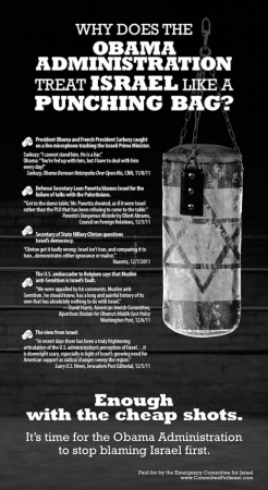 An advertisement sponsored by Emergency Committee for Israel which was published in the Dec. 15, 2011 edition of Variety. Variety rejected the pro-BDS ad, but accepted this inflammatory ad attack attacking Barack Obama for his perceived lack of support for Israel.