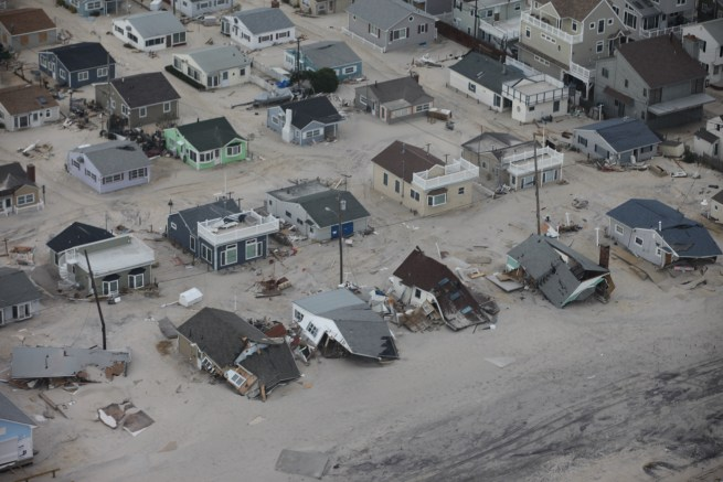Damaged and collapsed homes along the Jersey Shore can be seen in this aerial photograph taken after Hurricane Sandy on Nov. 2, 2012. (Flickr / U.S. Fish and Wildlife Service)