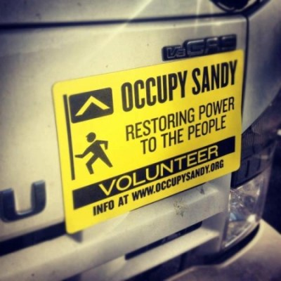 An Occupy Sandy sticker on the back of a truck encourages volunteers to join community relief efforts organized after Hurricane Sandy in this July 18, 2013 photograph. (Flickr / Not An Alternative)