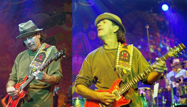 Two photos of Carlos Santana performing on electric guitar. January 21, 2000 in München, Germany. (Wikimedia Commons)