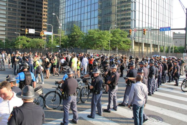 Using bicycles, police block off a protest at the 2016 Republican National Convention. July 19, 2016. (MintPress News / Desiree Kane)