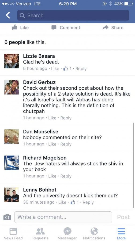 Screenshot of abusive messages sent to the Students for Justice in Palestine.