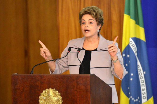 Former Brazilian president Dilma Rousseff speaks during impeachment hearings. March 31, 2016. (Wikimedia Commons / Agência Brasil / Antonio Cruz)