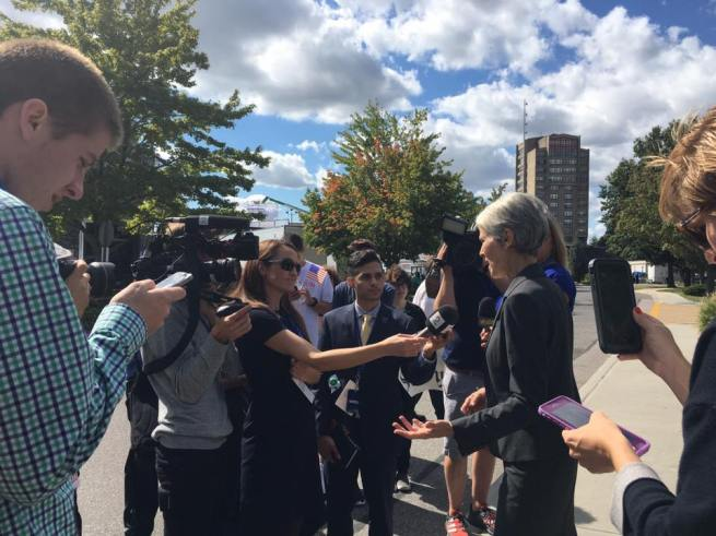 Jill stein talks to the media after being escorted out of the debate. September 26, 2016. (Facebook / Jill Stein)