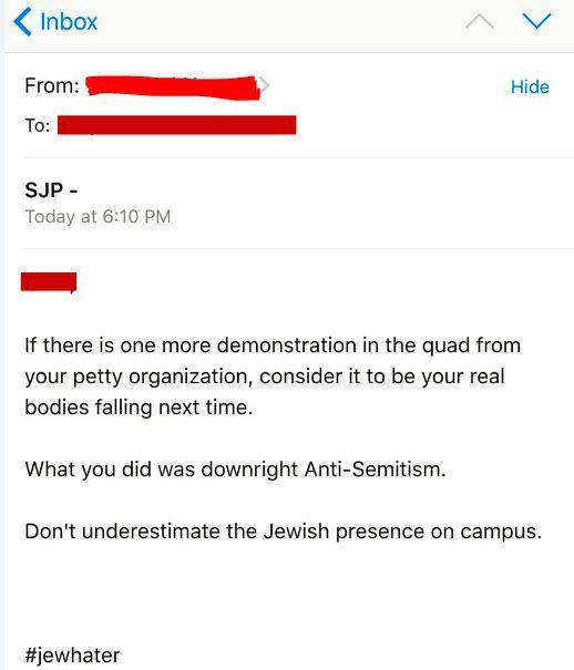 An abusive message sent to Students for Justice in Palestine.