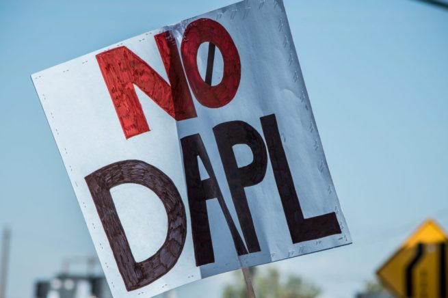 "A NoDAPL sign at a rally in solidarity with Native American ""water protectors"" in North Dakota. (Flickr / Paulann Egelhoff)"