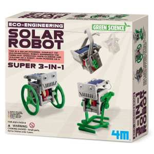 3 ב 1 קיט לימודי לבניה עצמית רובוט סולארי מגניב DIY לילד 4M