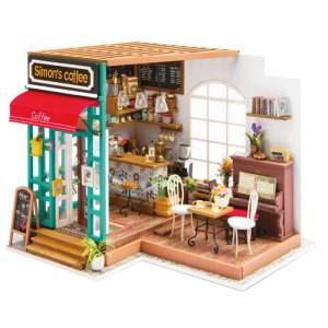ערכת בנייה מעץ בית קפה כולל מעגל חשמלי לילדים