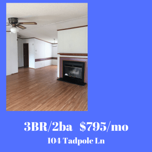 Jacksonville NC area 3 bedroom house for rent