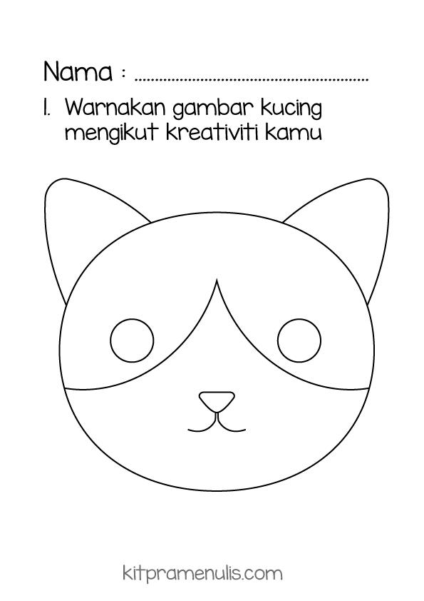 warna-kucing Latihan Pra Menulis | Warna Gambar Kucing Mengikut Kreativiti