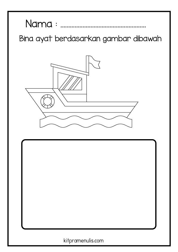 10-1 Lembaran Kerja Pendidikan Khas BM | Bina Ayat Mudah Tema Kapal Air