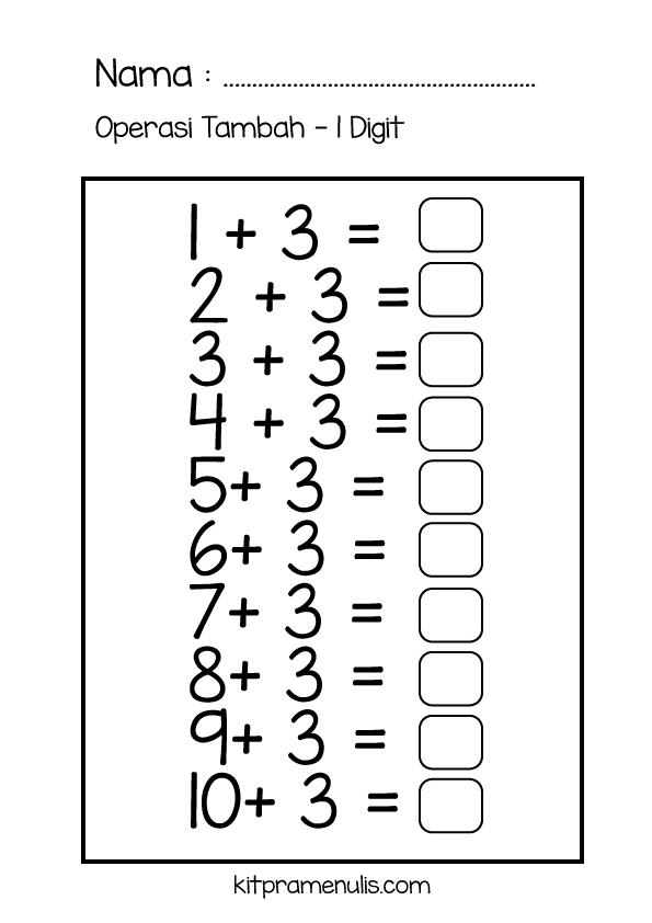3-1 Lembaran Kerja Matematik Pendidikan Khas | Selesaikan Operasi Tambah 1 Digit