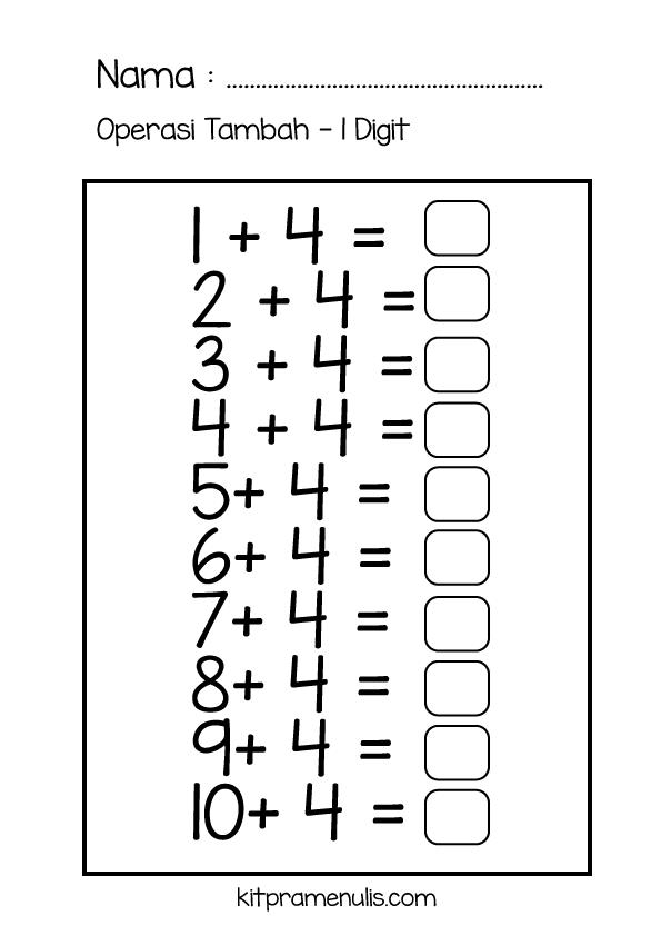 4-1 Lembaran Kerja Matematik Pendidikan Khas | Selesaikan Operasi Tambah