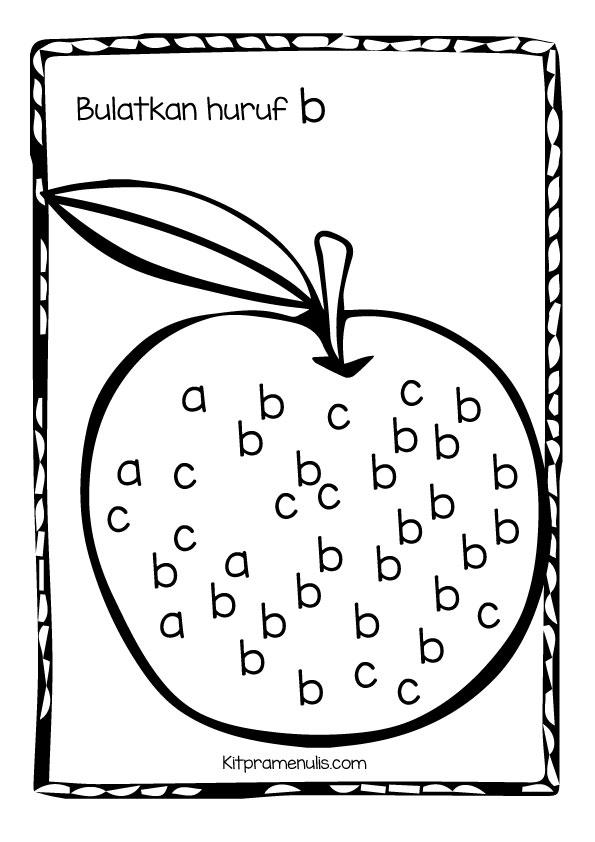 b Aktiviti Pramenulis | Bulatkan huruf B kecil