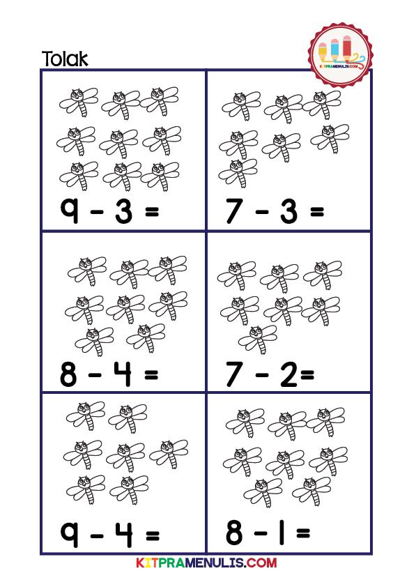 operasi-tolak-1-10-tema-pepatung-01 Latihan Matematik Operasi Tolak Prasekolah