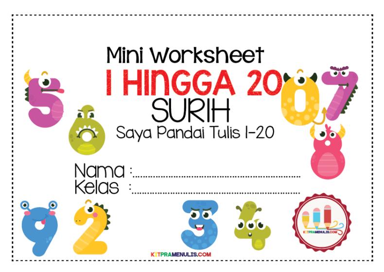 Mini-Worksheet-1-20-Surih-Nombor-01 Lembaran Kerja Pendidikan Khas Menulis Nombor 1 Hingga 20