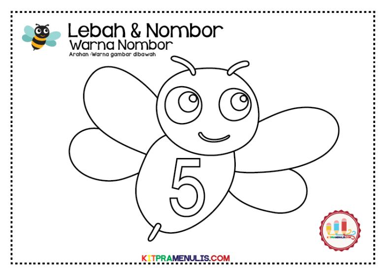 Warna-nombor-1-hingga-10-tema-lebah-01 Lembaran Kerja Warna Nombor 1 Hingga 10 Tema Lebah
