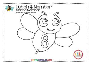 Warna-nombor-1-hingga-10-tema-lebah-09 Warna nombor 1 hingga 10 tema lebah-09