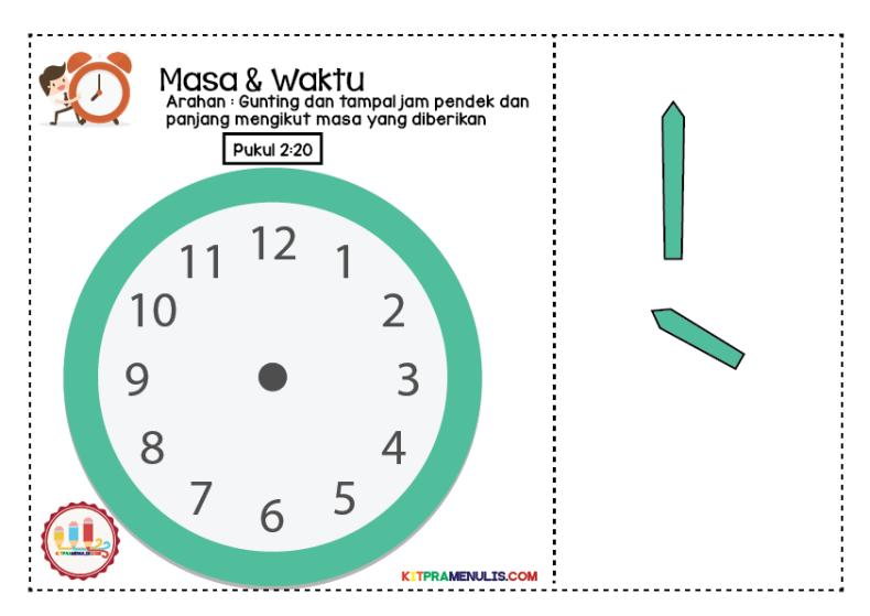 lembaran-kerja-maa-waktu-homeschooling-01 Lembaran Kerja Masa Dan Waktu   Tampal Jarum Jam 2:00 Hingga 2:55