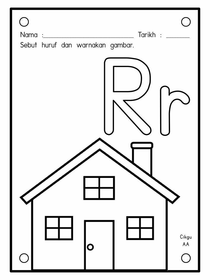 latihan-warna-huruf Lembaran Kerja Mewarna Huruf A Hingga Z Prasekolah