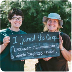 Picture of two members holding chalkboard that says I joined the co-op because cooperation is a viable business model