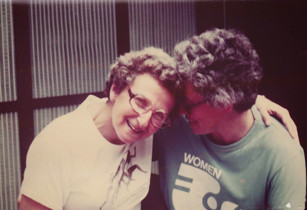 This 1978 photo provided by Pearl Berlin, left, and Lennie Gerber shows the couple at Badin Lake, in North Carolina. The couple have a federal lawsuit pending to make gay marriage legal in their home state. (AP Photo/Courtesy Lennie Gerber and Pearl Berlin)
