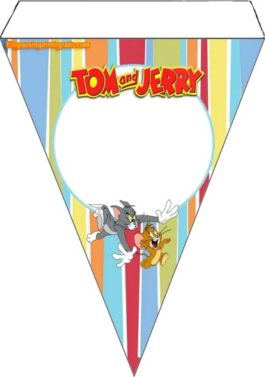 Banderin de Tom y Jerry para imprimir - Cumpleaños Tom y Jerry moldes para descargar- kits digital Tom y Jerry