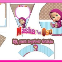Decoracion de Masha y El Oso Kit para Imprimir Gratis