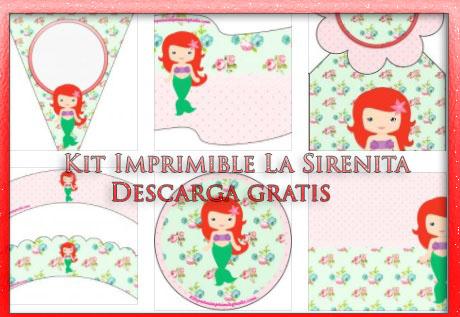 Kit Imprimible de La Sirenita bebé | Kits para imprimir gratis