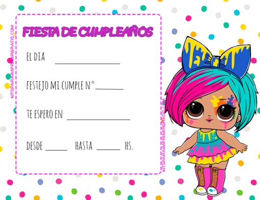 CONVITES LOL SURPRISE HAIRGOALS SERIE 5 COLORES TARJETAS CUMPLE