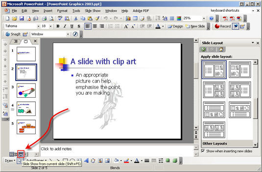 PowerPoint - current slide button