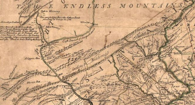 A map of Lebanon County and the South Central PA area from 1749 drawn by Lewis Evans. Credit Lebanon County Historical Society
