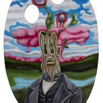 Tree person (2019), olie på træ, 30x20 cm