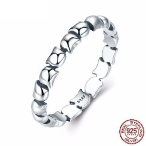 925 Sterling Silver Cute Cat Stackable Ring