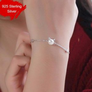 925 Sterling Silver Imitation Pearl Cat Charm Bracelet Hypoallergenic Jewelry