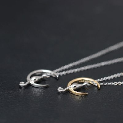 925 Sterling Silver Moon Cat Necklace
