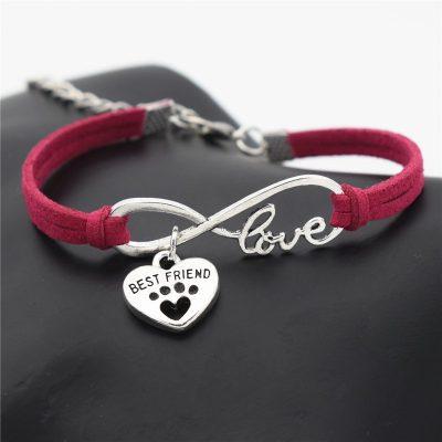 Faux Leather Silver Pets Paw Charms Pendant Love Bracelet