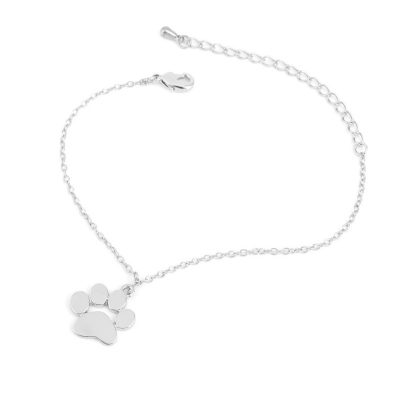Cat and Dog Paw Print Animal Bracelet - Silver