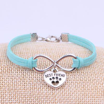 Pets Paw Best Friend Charms Pendant Leather Infinity Bracelet