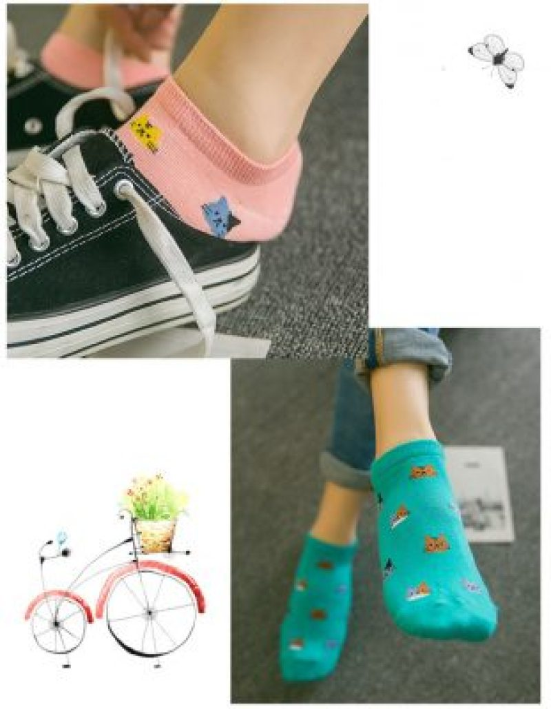 Candy Color Cat Design Ankle Socks