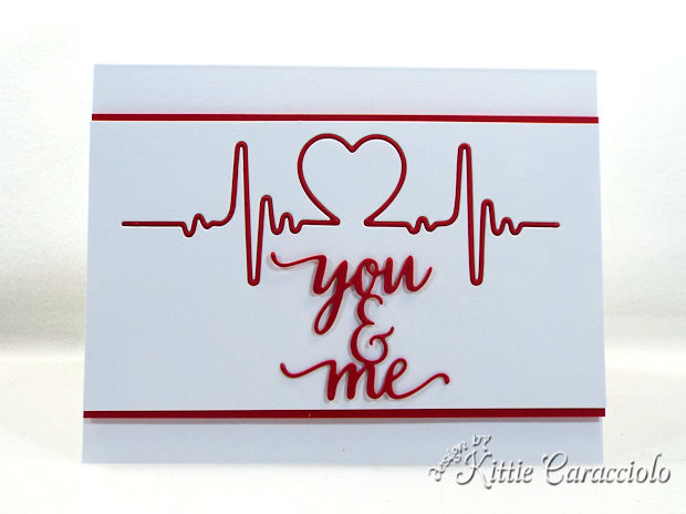 A clean and simple die cut heartbeat Valentine card is fun to make