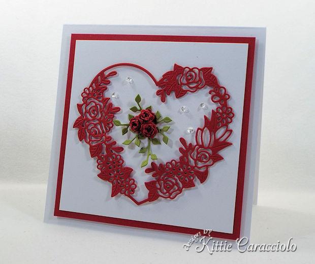 Floral Heart Frame Valentine Card iwth die cuts