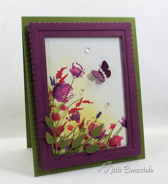 Framed watercolor wildflowers look so pretty on a card front.