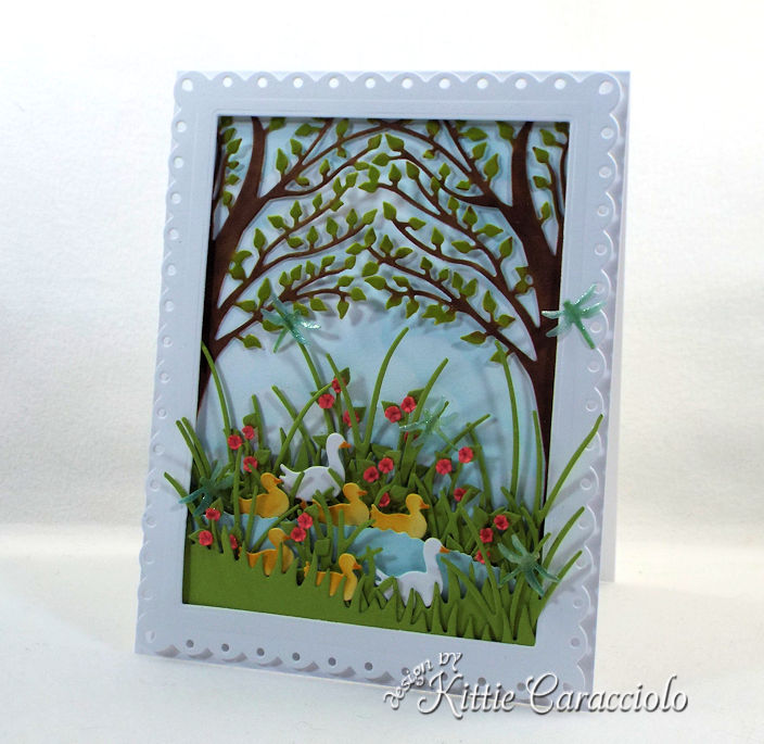 Create dimension and interest by layering die cuts on card fronts.